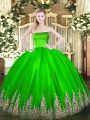 Best Selling Ball Gowns Appliques Sweet 16 Dress Zipper Tulle Sleeveless Floor Length