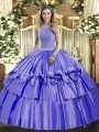 Decent High-neck Sleeveless Lace Up Quinceanera Dresses Lavender Organza and Taffeta