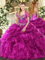 Fuchsia Organza Lace Up Sweetheart Sleeveless Floor Length Quinceanera Gown Beading and Ruffles and Pick Ups