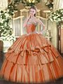 On Sale Sweetheart Sleeveless Sweet 16 Dresses Floor Length Beading and Ruffled Layers Rust Red Organza