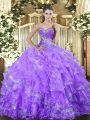 Dramatic Beading and Ruffled Layers Sweet 16 Dresses Lavender Lace Up Sleeveless Floor Length