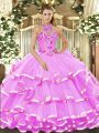 Sumptuous Sleeveless Organza Floor Length Lace Up Quinceanera Gown in Lilac with Beading and Embroidery