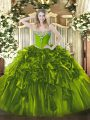 Beautiful Floor Length Ball Gowns Sleeveless Olive Green Quince Ball Gowns Lace Up