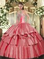 Sweetheart Sleeveless Lace Up 15 Quinceanera Dress Coral Red Organza and Taffeta