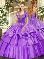 Fabulous Sleeveless Organza and Taffeta Floor Length Lace Up Ball Gown Prom Dress in Lavender with Beading and Ruffled Layers