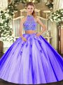 Sleeveless Tulle Floor Length Criss Cross Quince Ball Gowns in Lavender with Beading