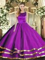 Scoop Sleeveless Lace Up Sweet 16 Quinceanera Dress Eggplant Purple Tulle