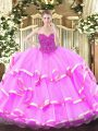 Vintage Fuchsia Sleeveless Lace Floor Length Sweet 16 Quinceanera Dress