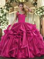 Ball Gowns Quinceanera Gown Fuchsia Halter Top Organza Sleeveless Floor Length Lace Up