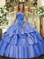 Wonderful Organza and Taffeta Strapless Sleeveless Lace Up Beading and Ruffled Layers Quinceanera Dresses in Blue