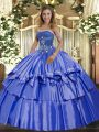 Free and Easy Blue Sleeveless Organza and Taffeta Lace Up Quinceanera Dresses for Military Ball and Sweet 16 and Quinceanera