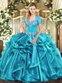 Popular Aqua Blue Ball Gowns Organza Sweetheart Sleeveless Beading and Ruffles Floor Length Lace Up Quinceanera Gown