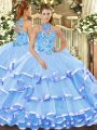 Fine Baby Blue Ball Gowns Beading and Embroidery Quince Ball Gowns Lace Up Organza Sleeveless Floor Length