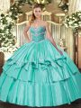 Flirting Beading and Ruffled Layers Quince Ball Gowns Apple Green Lace Up Sleeveless Floor Length