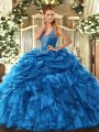 Admirable Sleeveless Lace Up Floor Length Beading and Ruffles and Pick Ups Quinceanera Gown