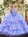 Classical Sleeveless Organza Floor Length Lace Up Quinceanera Dress in Lavender with Beading
