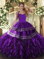 Extravagant Sleeveless Floor Length Embroidery and Ruffles Lace Up Quinceanera Dresses with Purple