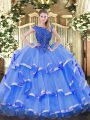 Blue Ball Gowns Organza Scoop Sleeveless Beading and Ruffled Layers Floor Length Zipper Sweet 16 Quinceanera Dress