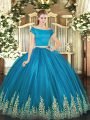 Discount Teal Two Pieces Off The Shoulder Short Sleeves Tulle Floor Length Zipper Appliques Vestidos de Quinceanera
