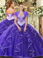 Modern Ball Gowns 15 Quinceanera Dress Purple Sweetheart Tulle Cap Sleeves Floor Length Lace Up