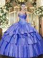 Sleeveless Beading and Ruffled Layers Lace Up Quinceanera Dresses