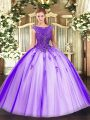 Sleeveless Zipper Floor Length Beading and Appliques Ball Gown Prom Dress