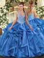 Designer Sleeveless Floor Length Beading and Ruffles Lace Up 15th Birthday Dress with Blue