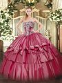 Discount Organza and Taffeta Strapless Sleeveless Lace Up Beading and Ruffled Layers Quinceanera Gowns in Hot Pink