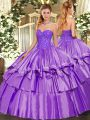 Lavender Sleeveless Floor Length Beading and Ruffles Lace Up 15th Birthday Dress