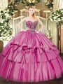 Floor Length Pink Ball Gown Prom Dress Organza and Taffeta Sleeveless Beading and Ruffled Layers