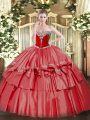 Spectacular Floor Length Coral Red Sweet 16 Dresses Organza and Taffeta Sleeveless Beading and Ruffled Layers