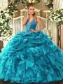 Cute Organza Sleeveless Floor Length Quinceanera Dress and Beading and Ruffles and Pick Ups