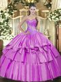 Extravagant Lilac Organza and Taffeta Lace Up Sweetheart Sleeveless Floor Length Sweet 16 Dresses Beading and Ruffled Layers