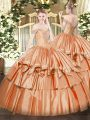 Fine Orange Red Ball Gowns Off The Shoulder Sleeveless Organza Floor Length Lace Up Beading and Ruffled Layers Sweet 16 Quinceanera Dress
