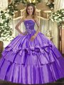 Beautiful Strapless Sleeveless Lace Up Quinceanera Dresses Lavender Organza and Taffeta