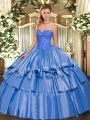 On Sale Blue Sleeveless Beading and Ruffled Layers Floor Length 15 Quinceanera Dress