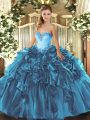 Teal Ball Gowns Sweetheart Sleeveless Organza Floor Length Lace Up Beading and Ruffles Sweet 16 Dress