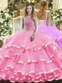 High-neck Sleeveless Lace Up Sweet 16 Dress Rose Pink Organza