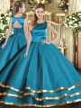 Latest Ruffled Layers 15th Birthday Dress Teal Lace Up Sleeveless Floor Length