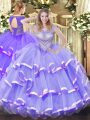 Lovely Scoop Sleeveless Vestidos de Quinceanera Floor Length Beading and Ruffled Layers Lavender Organza