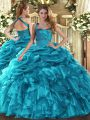 Romantic Floor Length Teal 15 Quinceanera Dress Halter Top Sleeveless Lace Up