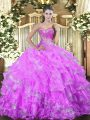 Designer Sweetheart Sleeveless Lace Up Quinceanera Gowns Lilac Organza