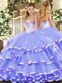 Glorious Lavender Lace Up Sweetheart Beading and Ruffled Layers Quince Ball Gowns Organza Sleeveless