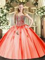 Sophisticated Tulle Sleeveless Floor Length Sweet 16 Dress and Beading and Appliques