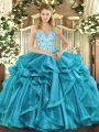 Sleeveless Beading and Appliques and Ruffles Lace Up Quinceanera Dress