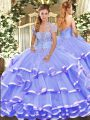 Top Selling Lavender Ball Gowns Organza Strapless Sleeveless Appliques and Ruffled Layers Floor Length Lace Up Quinceanera Gowns