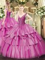 Sleeveless Organza and Taffeta Floor Length Lace Up 15th Birthday Dress in Lilac with Beading and Ruffled Layers