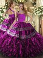 Floor Length Lace Up Vestidos de Quinceanera Fuchsia for Military Ball and Sweet 16 and Quinceanera with Embroidery and Ruffles
