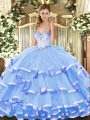 Customized Sweetheart Sleeveless Organza 15 Quinceanera Dress Beading and Ruffled Layers Lace Up