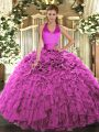Ruffles Quinceanera Gowns Fuchsia Lace Up Sleeveless Floor Length